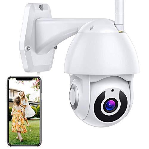 Cámara IP WiFi de Vigilancia Exterior CCTV Cámara PTZ 1080P HD Alarma de Detección de Movimiento,Control App,Pan360°/Tilt110°,Audio Bidireccional,Visión Nocturna,Impermeable,iOS/Android 【Cámara+64G】