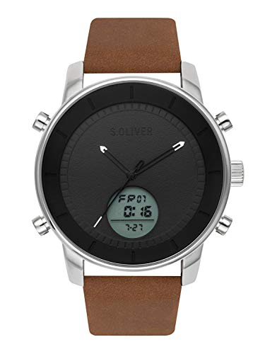 s.Oliver Time Herren Analog-Digital Quarz Uhr mit Leder Armband SO-3619-LD