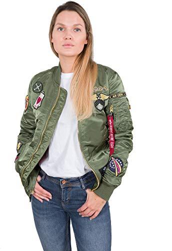 ALPHA INDUSTRIES Women Bomber Jacket MA-1 Custom, Talla:XS, Color:Sage-Green