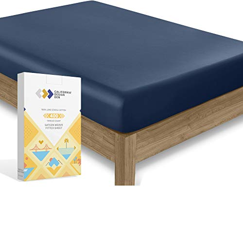 California Design Den 400 Thread Count 100% Cotton 1 Fitted Sheet Only, Dark Blue Queen Fitted Sheet, Long - Staple Combed Pure Natural Cotton Sheet, Soft & Silky Sateen Weave