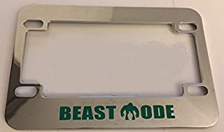 Beast Mode with Hulk Inside - Unique Design - Chrome with Green Motorcycle / Scooter License Plate Frame -