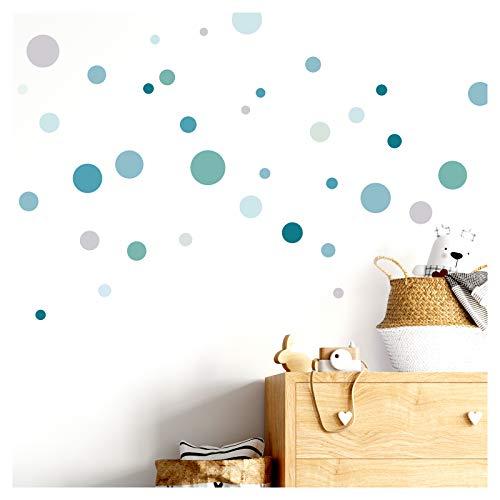 Little Deco Wandaufkleber 86 Punkte Kinderzimmer Kreise Junge I Mint grau blau I Wandtattoo Klebepunkte Wandsticker Set Dots bunt selbstklebend DL376