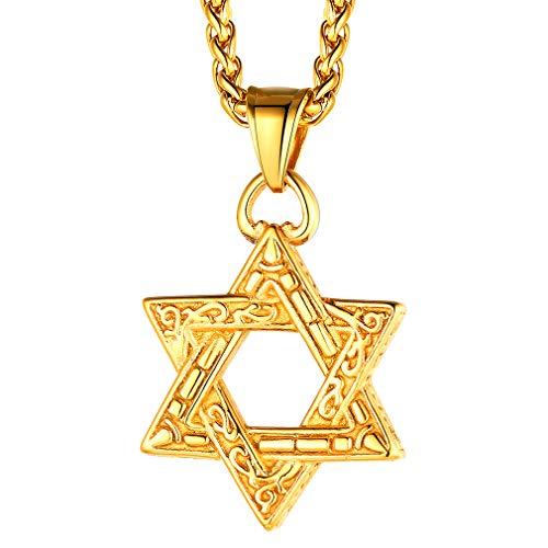 FaithHeart 18k Kette mit Davidstern Anhänger Jüdischer Kette mit Hexagram Anhänger mit Geschenkebox für Religiöser Leute