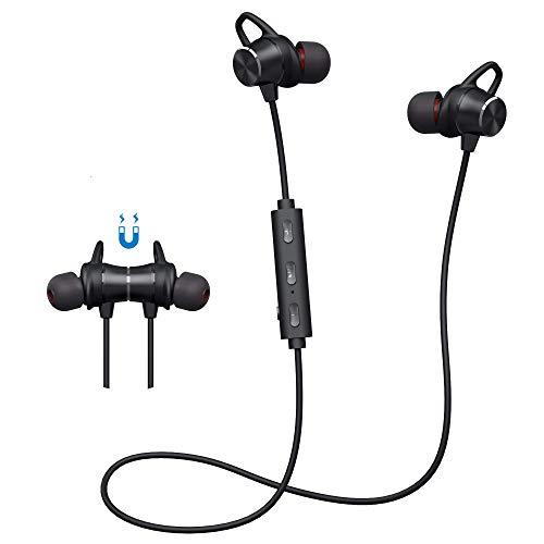 Auriculares Inalámbricos, 5.0 Auriculars Bluetooth In Ear Deportivos Magnéticos con Micrófono Cascos Bluetooth con Estéreo HiFi 8 H Play Time,para iPhone Xiaomi Huawei etc