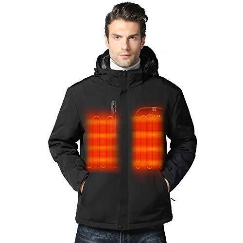 Venustas Men s Heated Jacket with Battery Pack 5V, Heated Coat with Detachable Hood Windproof Black