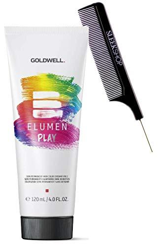 semi-permanent GoIdweII ELUMEN PLAY Semi-Permanent Hair Color Dye, Oxidant-Free + No Developer Needed (with Sleek Steel Pin Rat Tail Comb) Haircolor Direct Dyes (Orange - 4 oz)