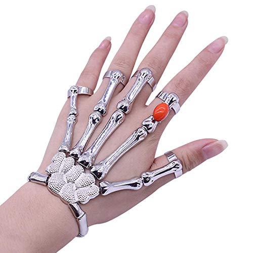 Pulseras de Anillo de Dedo de Calavera Punk para Hombres, Pulseras de Mano con Hueso de Calavera y Esqueleto, brazaletes, Halloween