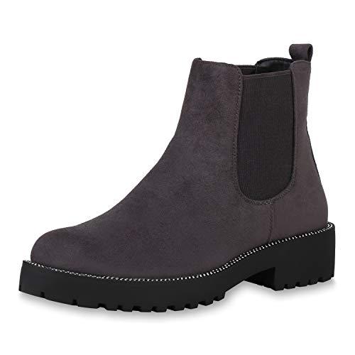 SCARPE VITA Damen Chelsea Boots Strass Stiefeletten Wildleder-Optik Schuhe Plateau Booties Schlupfstiefel Profilsohle 187355 Grau Grau Total 36