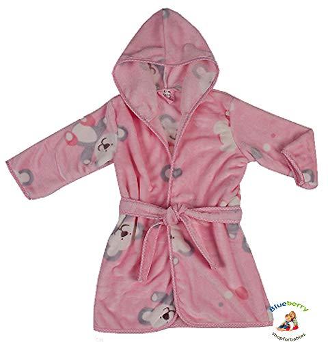 BlueberryShop Bedrukte Luxe Hooded Velours Badjassen/Dressing Jurk, 1-2 Jaar, Roze