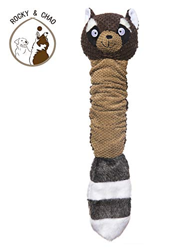 Rocky & Chao Plüsch Quietschend Spielzeuge Tiere Eichhörnchen Waschbär Unzerstörbar Spielzeug für Hunde