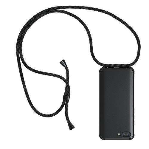 EAZY CASE Handykette kompatibel mit Honor 10 Handyhülle mit Umhängeband, Handykordel mit Schutzhülle, Silikonhülle schwarz, Hülle mit Band, Stylische Kette mit Hülle für Smartphone, All Black