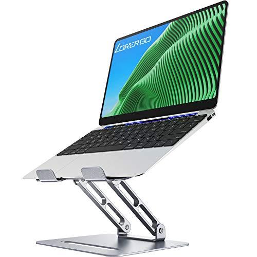 LORYERGO Aluminium Laptop Ständer für 11-17 Zoll Notebooks Ergonomischer Einstellbar Notebook Ständer Ausblendbar laptopständer Kompatibel - Silber