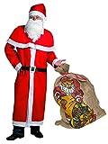 Idena 31337 Weihnachtsmann Kostümset mit Jutesack, 6-teilig, Mütze, Bart,...