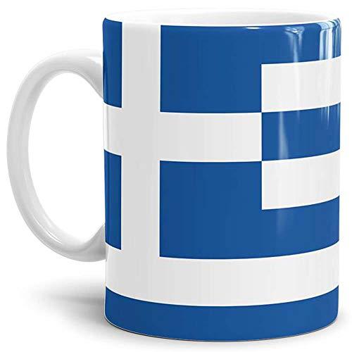 Tassendruck Flaggen-Tasse/Souvenir/Urlaub/Länder-Fahne/Kaffetasse/Mug/Cup - (Griechenland, Normal)