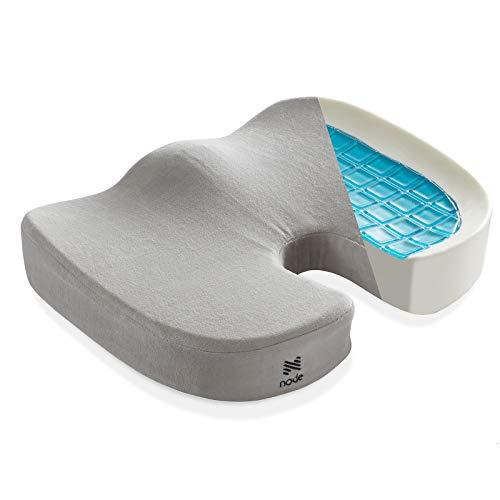 Node Gel-Enhanced Memory Foam Seat Cushion, Gray Velour Ergonomic Orthopedic Comfort Pad, Ideal Pillow for Office Desk Chair, Wheelchair, Car & Truck
