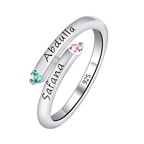 Quiges Damen Personalisiert Gravur Name Drehung Solitär Ring 925 Sterling Silber Zirkonia Geburtsstein Ringgröße 50