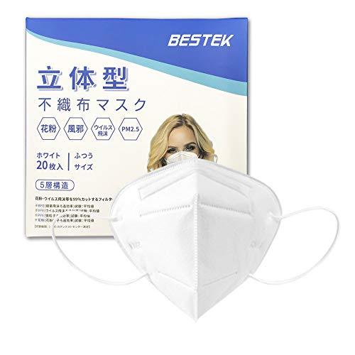 不織布マスク 立体型マスク マスク FFP2 Mask CE&SGS検査済み 99.9%カット 日本機構機能検査済み 不織布 5層構造 ふつうサイズ 丸紐 20枚入り MRMK06 BESTEK