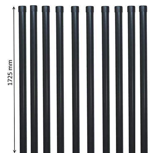 10 EXCOLO Zaunpfosten 1725 mm lang Ø34mm rund als Zaunpfahl Pfosten für Metallzaun Schweißgitter Zaun in anthrazit grau RAL 7016
