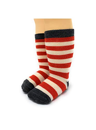 Warrior Alpaca Socks - Children's Baby Alpaca Wool Toddler Socks, Fun Stripes with Non-Skid Alpaca Appliqués (2-3 years, Red Stripe / Grey)