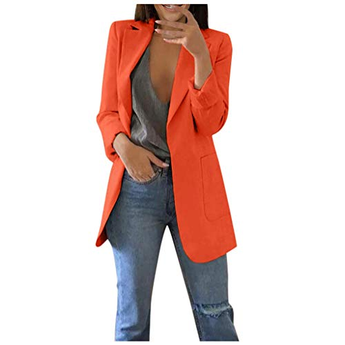 QIQIU Womens Office Plus Size Long Solid Long Sleeve Pocket Elegant Cardigans Suit Casual Jacket Coats Orange