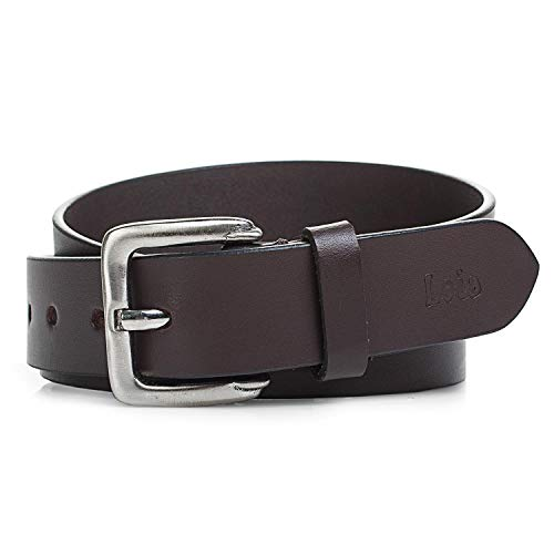 Lois - cinturón de cuero piel genuina con hebilla metálica. flexible y duradero. caja para original. calidad y ancho 30 mm 49807, Color Marron