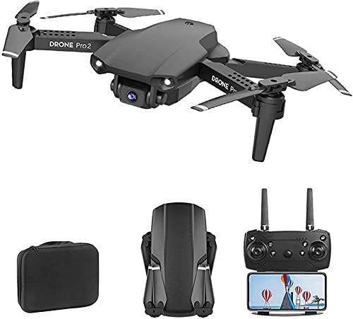 JJDSN Drone GPS WiFi FPV con droni a Doppia Fotocamera 4K per Adulti Quadricottero RC Gesto Traiettoria Fotografica Volo Una Chiave per Tornare a casa Altezza Fissa, Nero, 2 Batteria