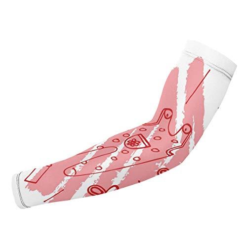 SURERUIM Arm-Ärmel,Roter Baby-Schnuller-Druck,Armwärmer Ärmlinge Kompression Bandage rutschfest Anti UV Running Radsport für Damen Herren 1 Paar