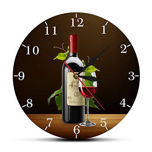 WANGY Cervecería de Vino Cocina Reloj de Pared Botella y Copa de Vino con Uvas Bar Taberna Reloj de Pared