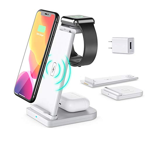 Afurdel Wireless Charging Station QI 3 in 1 Fast Wireless Charger Stand,Compatible for iPhone 11/11 Pro Max/XR/XS Max/Xs/X/8/8P, iWatch 6/5/4/3 AirPods Pro/Airpods 2(with QC3.0 Adapter) (White)