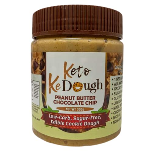 Keto Cookie Dough Peanut Butter Chocolate Chip, Low Carb, Sugar Free, Keto Friendly - Made with the BEST INGREDIENTS, all natural, no dyes or artificial ingredients or preservatives 10 ounces