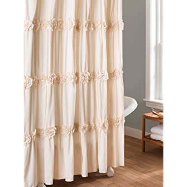 Lush Decor Darla Shower Curtain, 72 by 72-Inch, Ivory