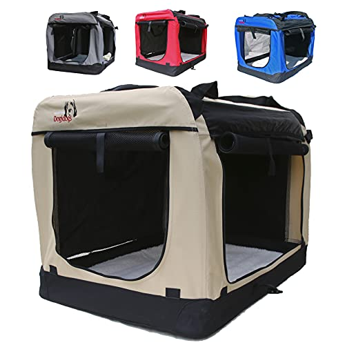 Hundetransportbox faltbar Transportbox für Hunde Hundebox Auto - Dogi Kennel - 6 Größen - 4 Farben (M (60 x 42 x 42 cm), Beige)