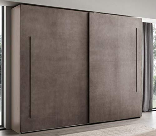 Casa Padrino Armario de Dormitorio de Lujo Gris 295 x 68 x A. 250 cm - Guardarropa de Madera Maciza con 2 Puertas correderas - Muebles de Dormitorio - Calidad de Lujo