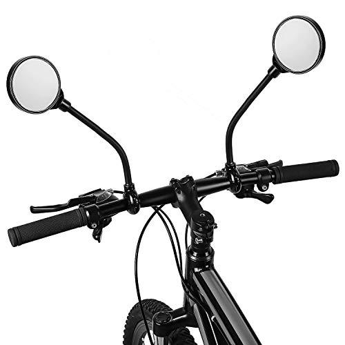 Jinhuaxin 2 Pezzi Specchietti Bici, 360° Regolabile Ruotabile Specchietto Retrovisore, Convesso Specchietto Retrovisore for Bicicletta/Bici elettrica/Scooter/Motorino/Sedia a Rotelle/Passeggino