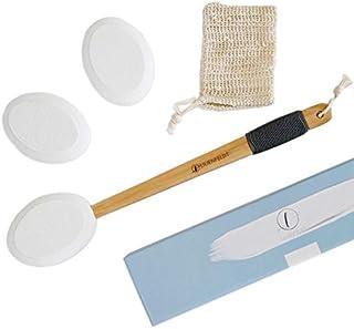 LILIENFELDT Eincremehilfe aus Holz inkl. 3 austauschbaren Pads & Wasch-Beutel. Rücken-Eincremer. Rückenbürste. Pflegehilfe für Lotion, Creme, Salbe, Öl.