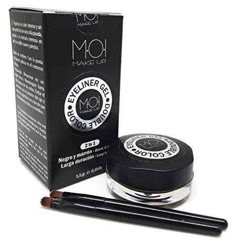 Eyeliner en gel DOUBLE COLOR negro-marrón PROFESIONAL larga duración con pinceles M·O·I Makeup