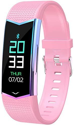 Pulsera inteligente para adultos y niños, impermeable, recordatorio de llamadas, monitoreo del sueño, rastreador de ejercicio de fitness, rosa