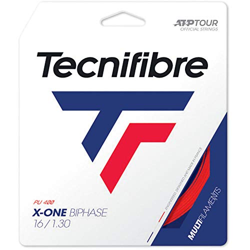 Tecnifibre X-One Biphase 12M Rojo Juego de cuerdas para tenis Multifil Rojo 1,30