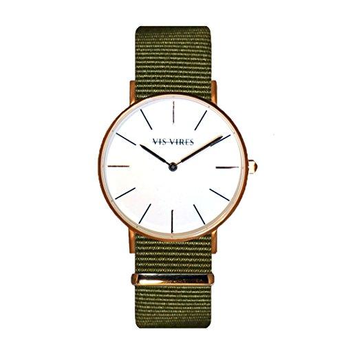 Vis Vires señoras Caqui Rose Reloj de Oro 36mm