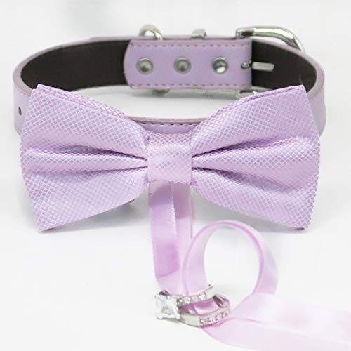 Lilac discount bow tie shipfree collar Leather dog adj ring bearer of honor