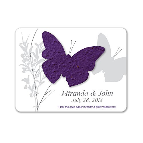 Bloomin Plantable Butterfly Wedding Favor with Seed Paper - Violet (25 Card Set)