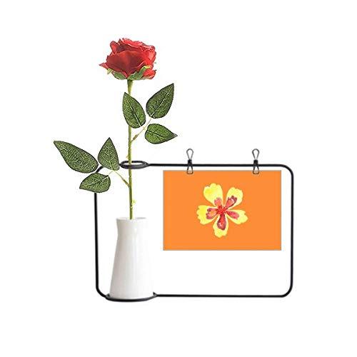 OFFbb-USA Pequeña flor amarilla de dibujos animados simple rosa artificial flor colgante jarrones decoración botella