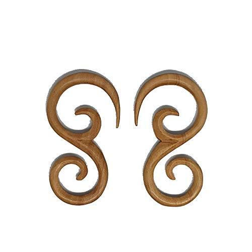 Outstanding Wooden Earrings Tibetan Tribal Fake Gauge Handmade Carved Women Girls Ladies Unisex Jewellery