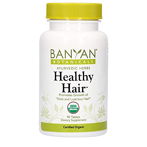 Banyan Botanicals Healthy Hair Tablets – Organic Hair Supplement with Amla & Bhringaraj – Ayurvedic Hair Care for Thick, Lustrous & Strong Hair – 90 Tablets – Non GMO Sustainably Sourced Vegan