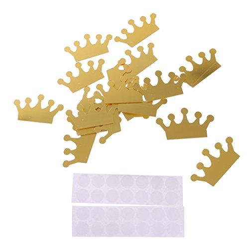 MagiDeal 18pcs Prinzessin Krone Spiegel Wandaufkleber Aufkleber Haus Dekoration - Gold, 4 x 7cm
