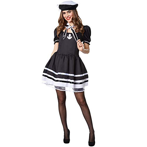 dressforfun 900505 Damenkostüm Navy Lady, Figurbetontes Marinekostüm in Schwarz und Weiß (XL| Nr. 302445)