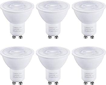 TORCHSTAR GU10 LED Light Bulbs 6.5W 50W Eqv  Dimmable Spotlight Bulb UL & Energy Star Listed 5000K Daylight 500lm for Track Lights Recessed Lighting Pack of 6