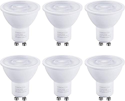 TORCHSTAR Dimmable GU10 LED Bulbs, 6.5W(50W Eqv.), Spotlight Bulb, 500lm, UL & Energy Star Listed, 5000K Daylight, for Track Lighting, Recessed Light, 3 Years Warranty, Pack of 6