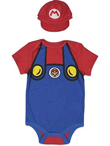 SUPER MARIO Nintendo Baby Boys Costume Bodysuit & Hat Set Blue 3-6 Months
