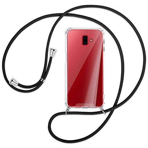 mtb more energy® Collar Smartphone para Samsung Galaxy J6 Plus, J6+ 2018 (SM-J610, 6.0'') - Negro - Funda Protectora ponible - Carcasa Anti Shock con Cuerda